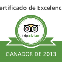 Tripadvisor gives us the Certificate of Excellence 2013